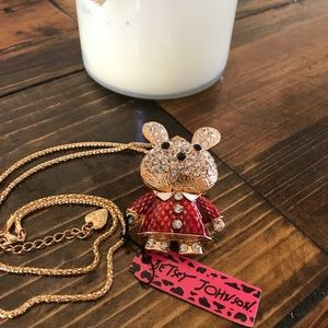 NWT Betsey Johnson Crystal Rabbit Necklace